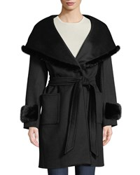 Cinzia Rocca Mink Trim Wool Cashmere Wrap Coat Black