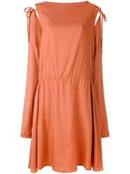 Societe Anonyme Tied Sleeve Dress Women Silk 1 Yellow Orange