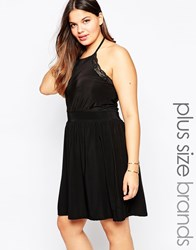 Praslin Plus Skater Dress With Lace Trim And Mesh Insert Black