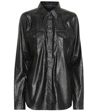 J Brand Perfect Faux Leather Shirt Black