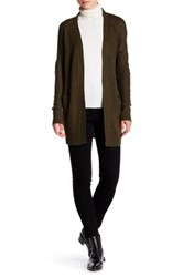 Long Open Faux Suede Elbow Patch Cardigan Green