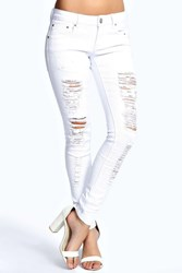 Boohoo Carly White Ripped Jeans White