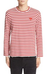 Comme Des Garcons Men's Play Long Sleeve Stripe Crewneck T Shirt