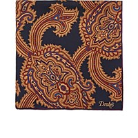 Drakes Drake's Men's Paisley Twill Pocket Square Navy