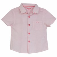 Chateau De Sable French Designer Collared Checked Short Sleeve Shirt Coral