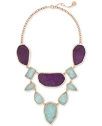 Vince Camuto Rose Gold Tone Purple And Blue Stone Statement Necklace