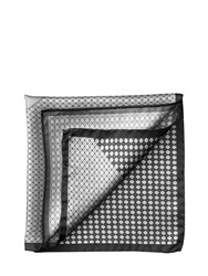 Aspinal Of London Savile Row Silk Twill Pocket Square In Silver And Charcoal Neutral