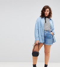 Asos Design Curve Denim Mom Short In Vintage Blue Vintage Blue