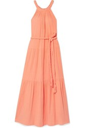 Apiece Apart Escondido Belted Crinkled Cotton Voile Maxi Dress Peach