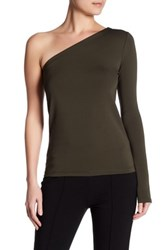 Theory Lefft Matte Jersey One Shoulder Tee Green