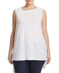 Eileen Fisher Plus Organic Linen Boat Neck High Low Tank White