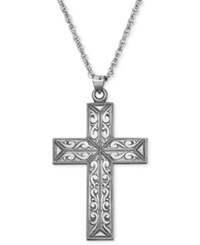 Macy's Sterling Silver Necklace 20' Fancy Antiqued Cross Rope Chain Pendant