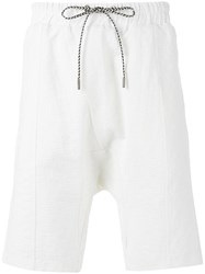 Les Benjamins Drop Crotch Shorts White
