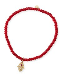Sydney Evan 3Mm Beaded Coral Bracelet With Diamond Hamsa Pendant Unassigned