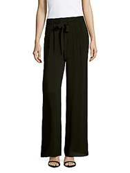 Chelsea And Theodore Solid Wide Leg Pants Black