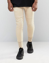 Pull And Bear Pullandbear Cuffed Skinny Joggers In Stone Stone Brown