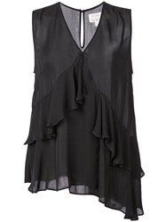 Nicole Miller Ruffled V Neck Blouse Black