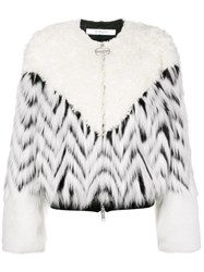 Givenchy Faux Fur Patchwork Bomber White