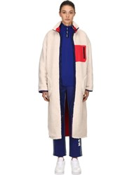 Sjyp Reversible Sherpa Long Shearling Coat Off White