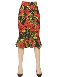 Dolce And Gabbana Rose Viscose Cady Flared Pencil Skirt Black Red