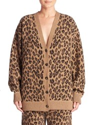 Alexander Wang Leopard Print Wool And Cashmere V Neck Cardigan