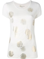 Blumarine Short Sleeve Dot Top Women Spandex Elastane Viscose 46 White