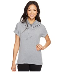 Icebreaker Mira Short Sleeve Cowl Fossil Snow Women's Clothing Gray