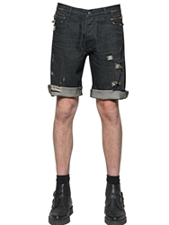 The Kooples Destroyed Stretch Cotton Denim Shorts Grey