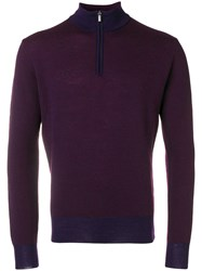 Canali Zipped Long Sleeve Sweater Pink And Purple