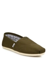 Toms Canvas Pleated Toe Slip Ons Dark Green