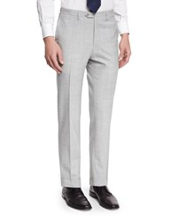 Kiton Solid Flat Front Wool Trousers Gray