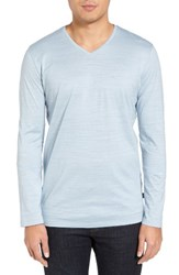 Boss Men's 'Tyson' V Neck Long Sleeve T Shirt Light Pastel Blue