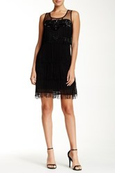 Gracia Jewel And Fringe Detail Sleeveless Dress Black