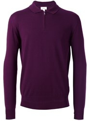 Brioni Long Sleeve Polo Shirt Pink Purple