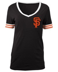 5Th And Ocean Women's San Francisco Giants Retro V Neck T Shirt Black