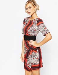 Closet Kimono Sleeve Dress With Wrap Front And Obi Belt Redmultiprint