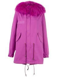 Mr And Mrs Italy Bouganville Mid Parka Coat Pink Purple