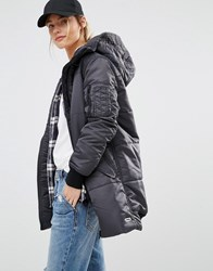 Converse Black Long Padded Jacket With Borg Lined Hood Black