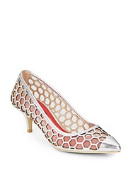 Charles Jourdan Londen Metallic Leather Honeycomb Mesh Pumps Silver