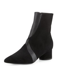 Sigerson Morrison Zero Seamed Suede Ankle Boot Black