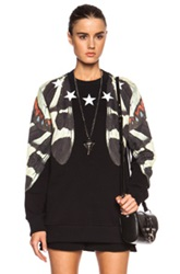Givenchy Moth Wing Print Cotton Sweatshirt With Star Collar In Black