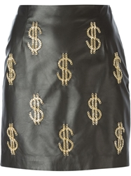 Moschino Chain Dollar Sign Mini Skirt Black