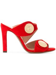 L'autre Chose Gold Toned Embellishment Mules Red