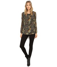 Christin Michaels Elizabeth Blouse Blue Olive Women's Blouse Multi