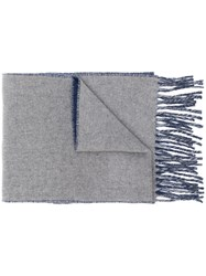 Polo Ralph Lauren Two Tone Fringed Scarf Blue