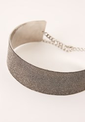 Missguided Glitter Choker Necklace Grey
