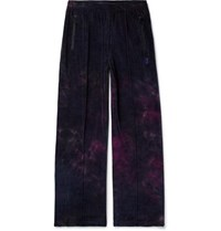 Needles Tie Dyed Cotton Blend Velour Track Pants Midnight Blue
