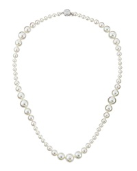 Majorica Mixed Size Pearl And Cz Necklace