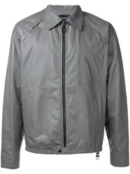 Lanvin Collared Leather Jacket Grey