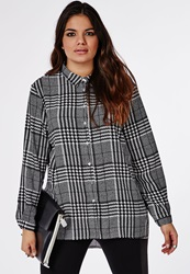 Missguided Plus Size Oversized Check Shirt Black